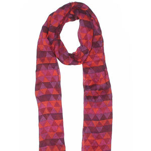 Accessories - fashion Scarf- bright pinks & red triangles